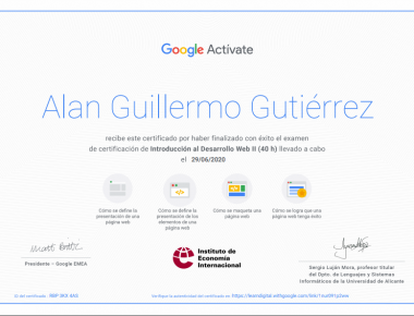 certificado alan google